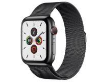 Часы Apple Watch S5 44 mm 4G черная сталь миланский черный браслет (A2157)
