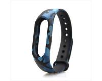 Ремешок к фитнес-браслету Xiaomi Mi Band 2 силиконовый (черный, с синими узорами)