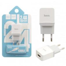 USB Lightining Cable iPhone5/6/7/iPad Mini 2,4А+кабель (C22A)(блистер сдвижной)(Hoco)