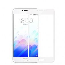 Защитное стекло Meizu M5S (2D) белая рамка (ударопрочное)