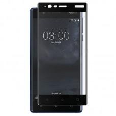 Защитное стекло Nokia 3 черная рамка (ударопрочное)