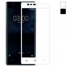 Защитное стекло Nokia 3 белая рамка (ударопрочное)