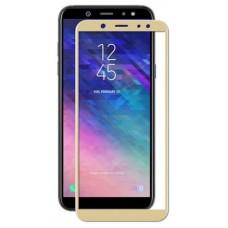 Защитное стекло Samsung A6 Plus/A605F (2018) золотая рамка (ударопрочное)