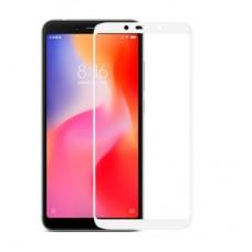 Защитное стекло Xiaomi Redmi 6A (3D) белая рамка (ударопрочное)