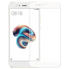 Защитное стекло Xiaomi Mi А1 (2D) белая рамка (ударопрочное)