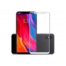 Защитное стекло Xiaomi Mi8 (5D) белая рамка (техпакет)(ударопрочное)