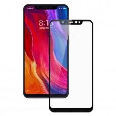 Защитное стекло Xiaomi Mi8 (2.5D) черная рамка (техпакет)(ударопрочное)