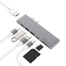 USB Конвертер HUB 5 в 1 (Thunderbolt C + Dual Type-C в USB3.0 / HDMI / Type-C)(Baseus)