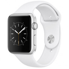 Часы Apple Watch S4 40 mm серебистый алюминий, белый спорт.ремешок (GPS)