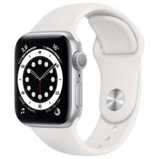 Apple Watch S6 44 mm Серебристый алюминий, Белый спортивный ремешок