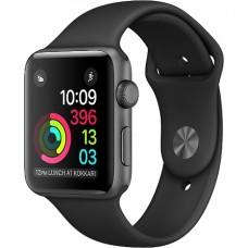 """Apple Watch 38mm S1 алюминий """"серый космос"""", черный спортивный ремешок"""