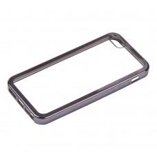 iPhone 4 Силиконовый чехол прозрачный с черной хром рамкой