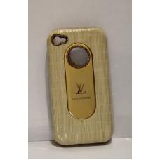 iPhone 4 защитная крышка золото+кожа