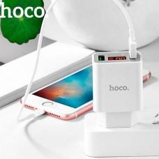 Блок питания сетевой с 2 USB выходами с дисплеем (5V)(2.2A) C25A (Hoco)