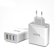 Блок питания сетевой с 3 USB выходами (3.6-12V)(1.5-3.0A) C24B (Hoco)